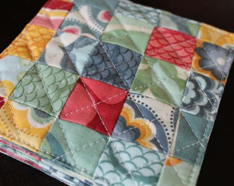 Quilted Coasters in Salt Air by Cosmo Cricket for Moda - Set of 4
