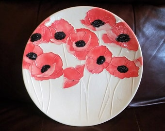 "POPPIES! POPPIES!  11"" Ceramic Poppy Wall Hanging Art for a focal wall   Brings Summer Indoors!  100% Handmade        1"