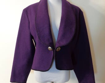 Vintage Mid-West Garment Co Royal Purple Wool Blend Whipstitch Trim Silver Conch Buttons Country Western Southwest Bolero Jacket Sz M