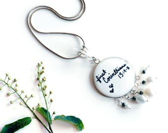 First Corinthians 13: 4-8 pendant with white freshwater pearls , wedding love jewelry , ivory bridal necklace , bible verse resin pendant