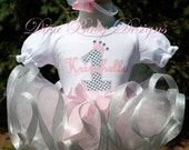 Light pink and silver Girls 1st 2nd 3rd 4th Birthday Outfit Baby girls first birthday outfit Personalized with Ribbon trimmed Tutu
