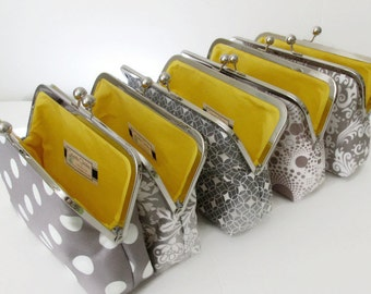 Bridesmaid Clutch Set of Five (5) Wedding Clutch, Gift for Her,  Grey and White, Bridesmaid Gift by Cutiegirlie