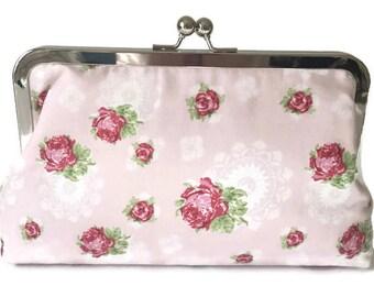 pretty pink rose  print Bridesmaids Clutches  Wedding Purse, destination wedding, formal wedding