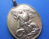 Antique Silver Gold Gilt Saint Michael Religious Medal The Archangel Circa 1800's  SS240