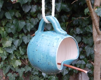 Bird feeder mug hand thrown in stoneware fully weatherproof wheelthrown pottery handmade ceramic frostproof