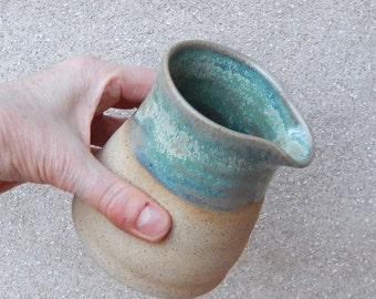 Jug, creamer or pitcher hand thrown stoneware handmade pottery wheelthrown ceramic cream