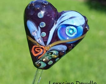 Lampwork Glass Heart Focal bead  - SRA Lorraine Dowdle