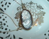 Lovely Vintage Abalone Cameo Pendant - Necklace w/ 24in 1/20 24k Gold Filled Chain