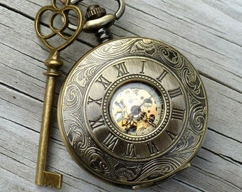 Alice in Wonderland Steampunk pocket watch key pendant charm necklace locket