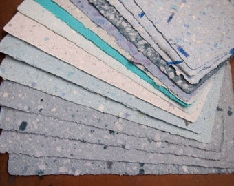 Handmade Recycled Paper - Blue Assortment