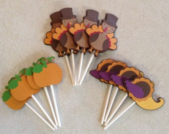 Thanksgiving Cupcake Toppers - Party Decorations, Party Supplies