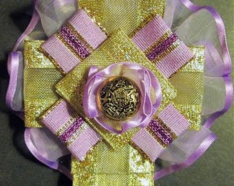 Ribbon Brooch or Hair Clip: Lavender and Gold