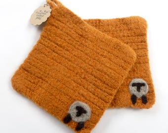 Pot holders felted wool pot holders sheep design set of two