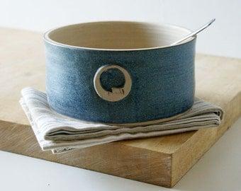 One moon stoneware bread baker - glazed in smokey blue