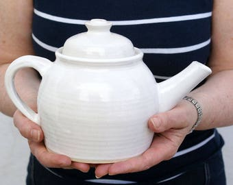Handmade stoneware teapot - glazed in brilliant white