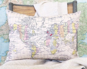 Small heart embroidered timezone map cushion - small - pillow for your favourite places - tell the story of your life