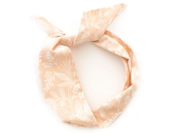 Peach Botanic Wire Headband - Rifle Paper Co Print Fabric Vintage Scarf Bandana Turban Wrap - Handmade by Mane Message on Etsy