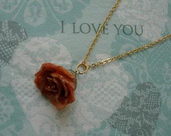 REAL Rose Flower Pendant - Small Orange Rosebud Flower Necklace - Beautiful Piece of Nature - Simple Gold Chain Design - Choose Chain Length