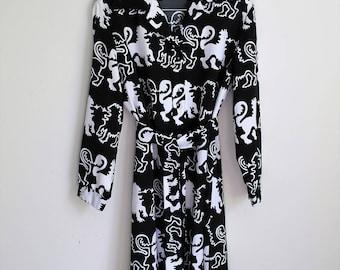 LANVIN 70s Midi Dress, Long Sleeve Dress, Belted Dress, Black and White, Griffin Print, Designer Dress, Minimal Dress, Plus Size Dress