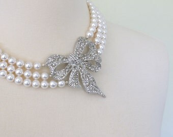 The Clara Bow Necklace - Vintage-Inspired Pearl and Rhinestone Bridal Bracelet