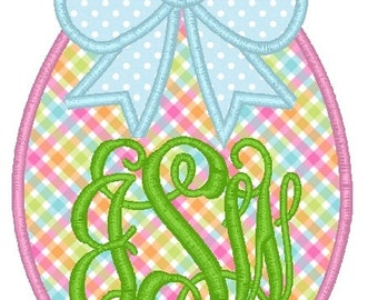 Easter Egg Bow Machine Embroidery Applique Design