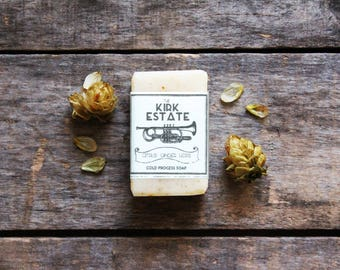 Citrus Ginger Hops, Brass, small bar, natural soap, cold process soap, lightly scented, handmade artisan soap, beer lover, vegan