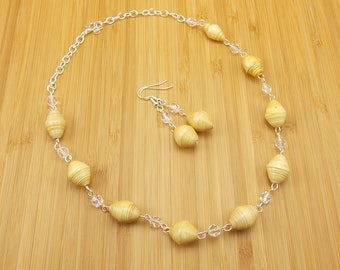 Paper Bead Necklace and Earring Set - Rwandan Paper Beads - Ivory - Tan - Off White - Light Yellow with Silver and Clear