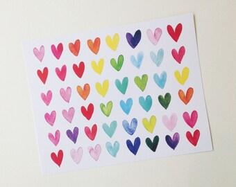 Rainbow Hearts PRINT