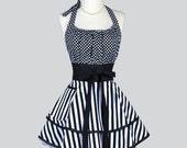 Flirty Chic Apron / Black and White Stripes and Polka Dot Cute Retro Style Kitchen Cooking Apron