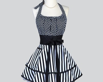 Flirty Chic Apron / Black and White Stripes and Polka Dot Cute Retro Style Kitchen Cooking Apron