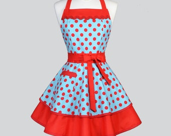 Ruffled Retro Womens Apron - Sexy Pin Up Rockabilly Turquoise and Red Polka Dot Vintage Style Cute Kitchen Woman Aprons to Personalize