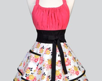 Womens Flirty Chic Apron / Vintage Daydream Ruffled Skirts and Azalea Pink Bodice Mix in a Vintage Style Pin Up Kitchen Apron