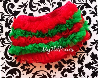Christmas Bloomers, Green and Red Candy Stripe, Chiffon Ruffle Bum Baby Bloomer, Newborn Bloomers, Baby Girl Bloomer, Ready to ship
