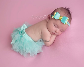 TUTU BLOOMERS and HEADBAND, mint and gold, all around ruffle , tutu bloomers , bloomer, newborn tutu, infant, baby headband, girl headband