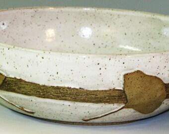 Serving Bowl/Wheel thrown/Ginkgo leaves/Decorative Serving Bowl
