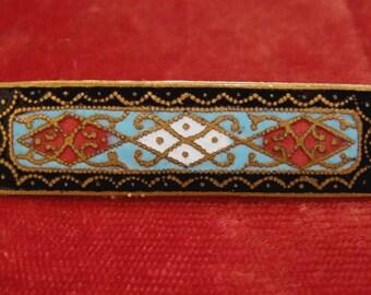 Russian Cloisonne Enamel Brooch Vintage Pin