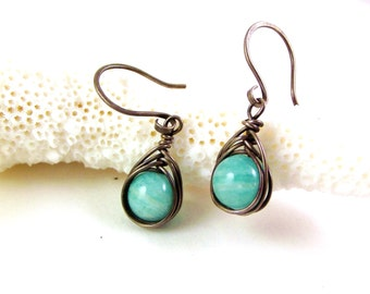 Russian Amazonite Earrings - Adonia Jewelry