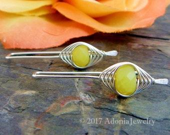 Olive Jade Earrings ~ Herringbone Earrings ~ Silver Earrings ~ AdoniaJewelry