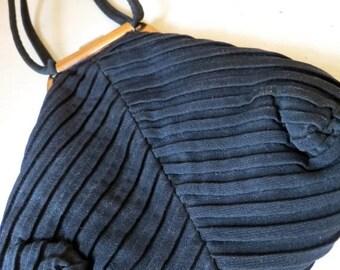 SALE Vintage 1940s Black Evening Pouch Purse with Change Purse