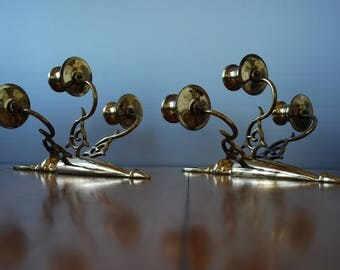 vintage pair of solid brass wall sconces - triple candle holders - Traditional - Modern Country