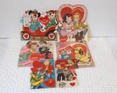 Six  Unused Vintage Valentines..X Large and Medium Sized Valentine..Glittered Embossed