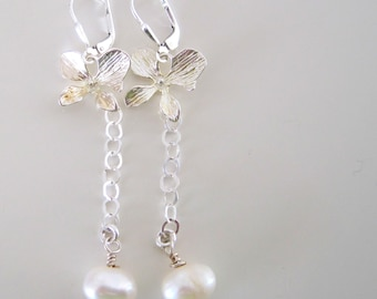 silver dogwood blossom with cultured pearl dangle earrings - feminine earrings, bridesmaids, bride, gift for her