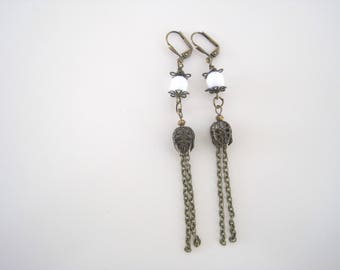 antiqued bronze dangle earrings with chain, white Czech faceted glass beads, lantern style beads - shoulder duster style