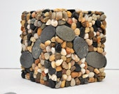 Beach Rock and Pebble Mosaic Boutique Tissue Box Cover - Ready to Ship