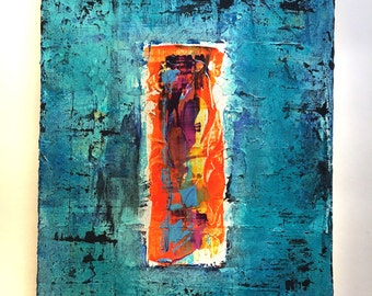 9 x 12.75  Abstract Art Acrylic Painting on canvas Ready to hang with hanger Contemporary Mixed Media Modern Paint Wall Original