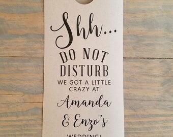 Do not disturb wedding door hangers, door hangers wedding, hotel door hangers, wedding sign, guest room hanger