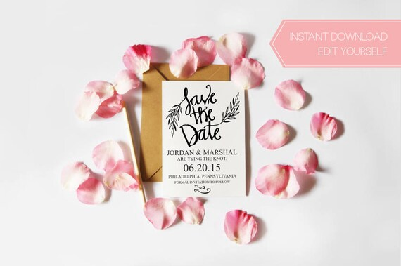 Instant Download Calligraphy Save the Date, Printable Save the Date, DIY Wedding, Editable Invitation, Digital Download Save the Date