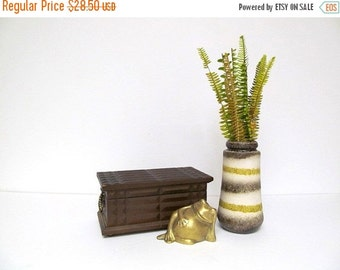 On Sale Striped Pottery Vase, Vintage Vase, Horizontal Rings, Earth Tones