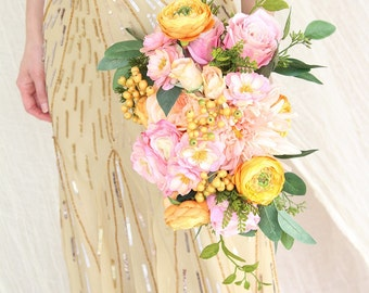 Boho Wedding Bouquet | Pinks and Oranges |  Garden Style Silk Flower Bridal Bouquet | SG-1029