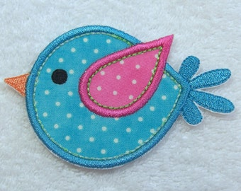 Little Bird Fabric Embroidered Iron on Applique Patch Ready to Ship